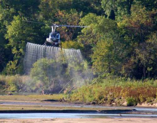 Spraying the Channel. Aerial herbicide applications were used along the Platte River to manage invasive phragmites.